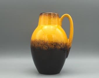 "Scheurich Keramik 414  / 16 Yellow dark brown Mid Century Modern ,,Heinz Siery"" vase  made in the 1970s . West Germany Pottery. WGP."