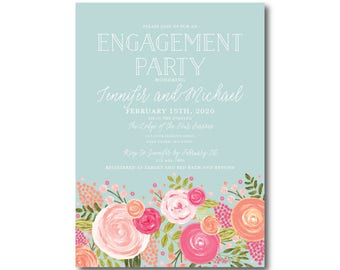 Engagement Party Invitations, Floral Invitation, We're Engaged Invitations, Engagement Invitations, Printed Engagement Invitations #CL328