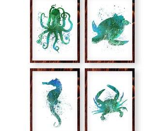 Nautical Prints, Set of 4, Sea Animals Print, Octopus, Turtle, Seahorse, Crab, Nautical Nursery Art, Watercolor Nautical Animals