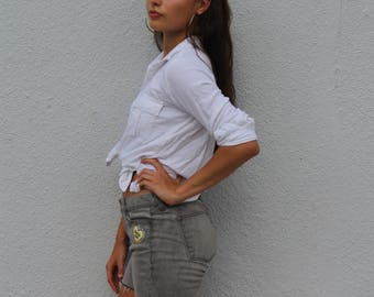 back off! size 4 vintage hihwausted frayed grey ralph lauren denim shorts heart patch embroidered pastel babydoll tumblr jeans mom jeans