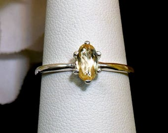 Genuine, Ouro Preto, Brazil, Imperial Topaz, Sterling Silver Ring, Size 7. Oval, Facet. Vivid Color: Golden Yellow Orange. Liquid Gold.