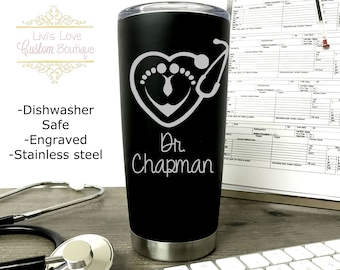 OBGYN Mug - OB Nurse Gift - Midwife Gift - Dishwasher Safe - 20 oz Matte Black Stainless Steel Travel Coffee Tumbler Labor and Delivery Gift