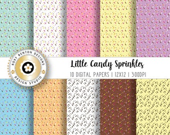 Little Size Candy Sprinkles, Sprinkles, Cupcake Sprinkles, Digital Paper Pack, Digital Scrapbook Papers, Set of 10,  Instant Download
