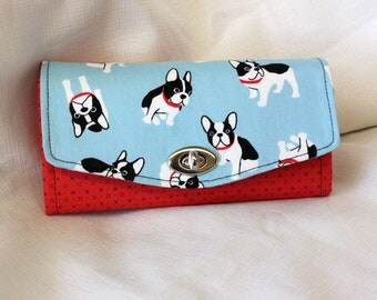 French Bulldog Wallet in Red and Blue