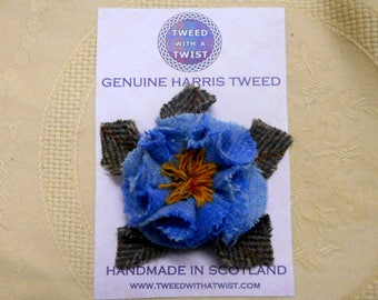 Harris Tweed Brooch corsage pastel blue and yellow shabby rose pin,  womens gift for her, Christmas gift mothers day or birthday present,