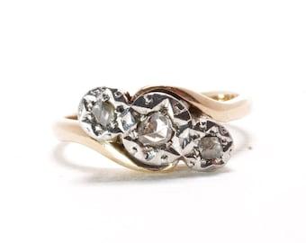 Vintage Rose Gold Ring | Pinky Ring | Rose Cut Diamonds | Starburst | Gift For Grad | 87417