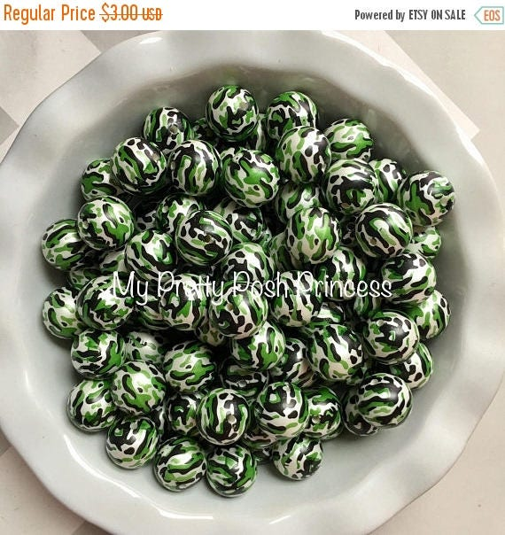 MEMORIAL SALE 20mm Camouflage Pearls Camo Hunting  Chunky Bubble Gum Beads Set of 10