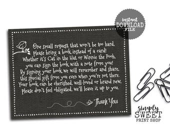 Baby Shower Bring A Book Instead Of A Card Insert - Black Linen Bird Butterfly Girl Or Boy Gender Neutral-Printable PDF - 6 Per Page