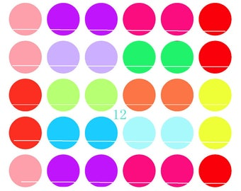 Color solid 54 designs/images for cabochon 12mm round