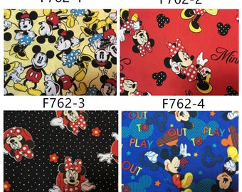 """100x110cm/39""""x43"""" 4 Colors Mickey Mouse Minnie Mouse Cotton Fabric"""
