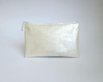 Ivory Oilcloth Clutch / Pearl Clutch / Floral Embossed Effect Bag / Makeup Bag / Cosmetic Case / Bridal clutch / Zippered cosmetic case