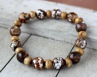 Tribal Jewelry Men, Mens Bracelet, Stretch Bracelet, Masculine Bracelet, Gift for Him, Boyfriend Gift, Husband Gift, Bead Bracelet