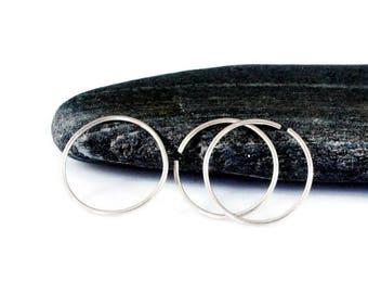 Single Sleeper Hoop Earring. Endless Hoop Earring. Sterling Silver Endless Hoop Earrings. Men's Simple Hoop. 8mm, 9mm, 10mm, 11mm, 12mm Hoop