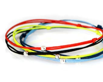 Simple Skinny Bracelet. Blue Navy Black Red Pink Yellow Bracelet. Friendship Wish Bracelet. Tiny Silver Bead Bracelet.Thin Cord Bracelet Men