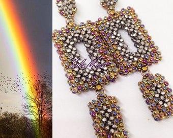 Rainbow handmade earrings technique craw