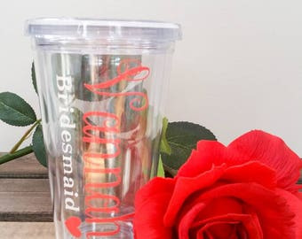 Clear Plastic tumblers with lid and straw.  Bridal party. Gift. Wedding. Customize. Coral