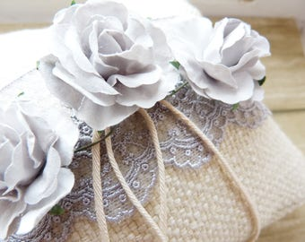 Romantic and rustic wedding ring cushion