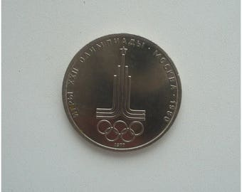 1 ruble, Olympic Games, Moscow, Coin, Vintage Money