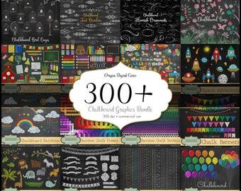 70% OFF Chalkboard Graphics Bundle, discount clipart and textures, digital scrapbooking, chalk clip art, blackboard school rainbow clipart