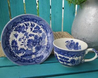 Vintage Blue Willow Cup & Saucer ~  Japan Blue Willow Cup and Saucer ~Blue and White Vintage China ~ Black Font JAPAN
