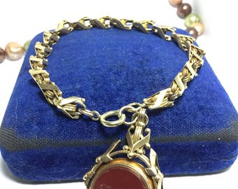 French Victorian 18k gold fancy link bracelet with blood stone swivel fob