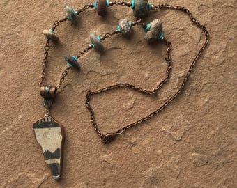 Southwestern Jewelry, Native American Artifact Necklace, American Indian Potsherd, Primitive Relic, Anasazi Shard, River Stone Copper JNC107