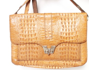 Vintage imitation crocodile leather bag