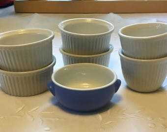 Hall Collection of Bakers Including Ramekins, Custard Cups and a Mini Casserole