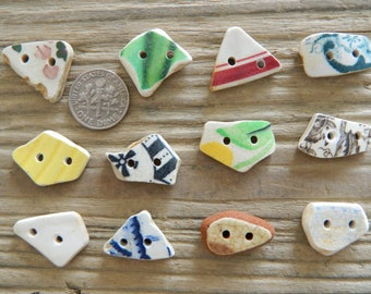 12 small sea pottery buttons for crafts