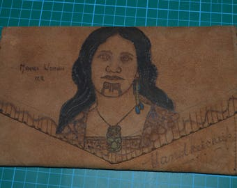 Suede/Leather Handkerchief Bag Maori Woman Image to Front