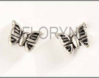 2 antique silver metal Butterfly beads