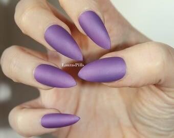 Purple stiletto false nails! Matte or glossy purple pink fake nails, false nails, press on nails