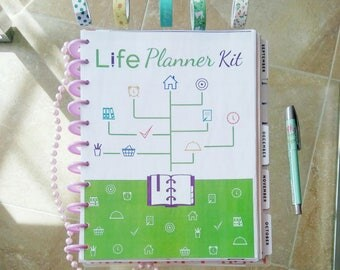 LIFE PLANNER KIT Big Happy Planner Printable Letter Size Inserts Binder Daily Monthly Project Menu Agenda Life Organizer Instant Download