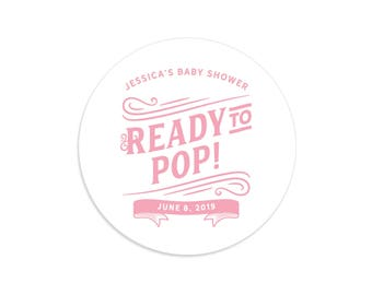 Ready to pop stickers, Ready to pop labels, Ready to pop baby shower, Ready to pop tags, Personalized popcorn favors, Popcorn stickers