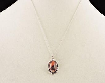 """33% Off Christmas in July Sterling Silver And Mexican Matrix Opal Pendant Necklace 18"""""""