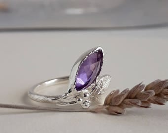 Amethyst ring for women, Silver leaf ring, purple rings for women, Sterling Silver Leaf Ring, Floral Ring, Silver Branch Ring, Inspirational
