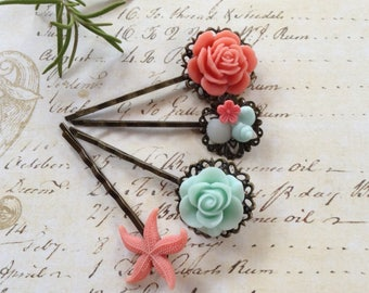 Hair Clips Mint Green And Peachy Pink Floral Bobby Pins