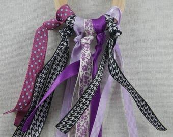Hochet27 - Inspired black and purple ribbons Montessori teething rattle