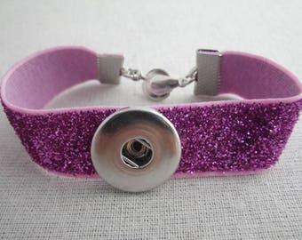 Glittery bracelet elastic support pink snap