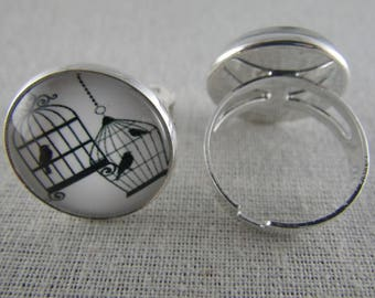 Bague066 - Ring silver, black and white birds in cages