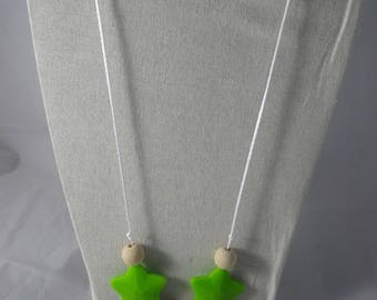 CollierPA021 - Babywearing necklace / nursing green stars
