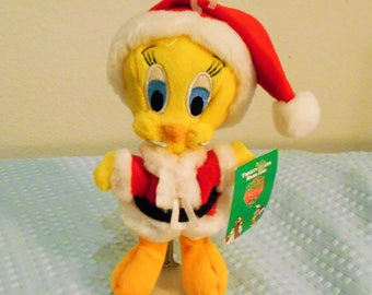 "Warner Brothers Beanbag Plush ""Santa Tweety""/Tweety is Dressed in a Red Santa Hat With Faux Fur Trim/Santa Costume,And Special Holiday Tag!"