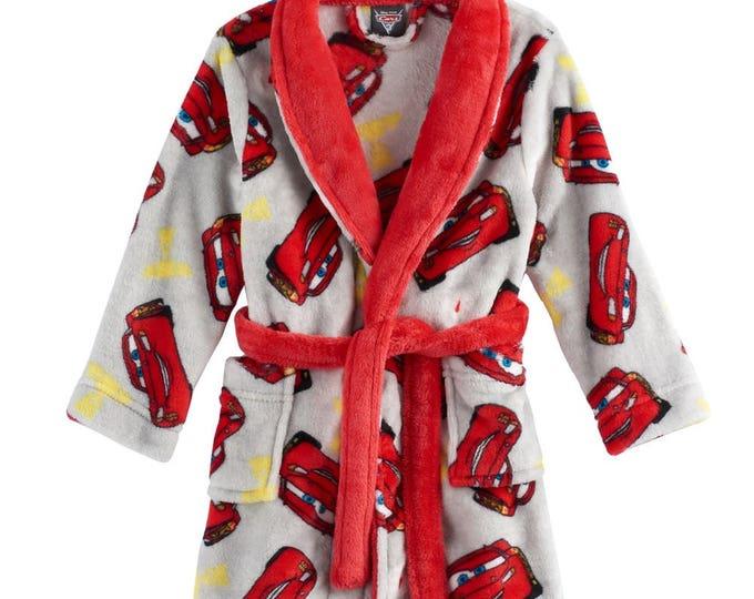 Cars Lightning McQueen Toddler Boy Plush Bath Robe - Personalized Monogrammed