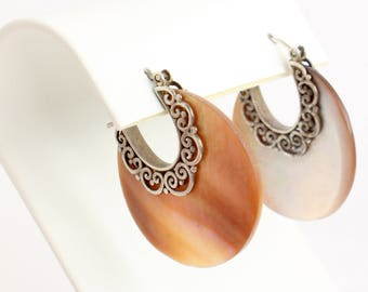 Boho Bronze Mother of Pearl Earrings with Luminous Bronze Mother of Pearl with Sterling Silver Swirls