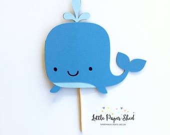 Handmade Age Cake Topper - Whale Theme With or Without Age