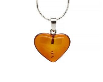 Amber Heart Necklace - Amber Pendant Heart - Heart Pendant - Amber Heart - Amber Charm - Amber Heart Pendant - Heart Jewelry -DO-280