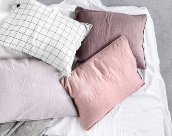 "Set of 2 / 20""x30"" (50x75 cm) QUEEN SIZE (Standard - EU) / Set of 2 washed linen pillowcases / in 25 colors"