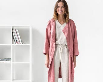 Linen coat AMSTERDAM / Washed and soft linen wrap coat / Long linen jacket available in 34 colors