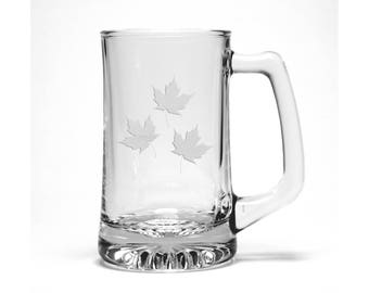 Maple Leaves Beer Mug / Free Personalization / Engraved Maple leaf Beer Glass / Personalized Beer Mug / Personalized Gift