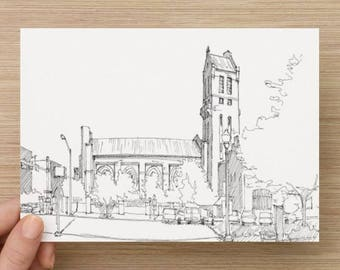 Ink Sketch of Zion Lutheran Church in Baltimore, Maryland - Drawing, Art, Architecture, Urbansketcher, Pen and Ink, 5x7, 8x10, Print